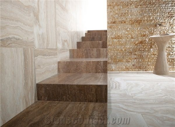Travertino Toscano Noce Stairs, Steps, Travertino Toscano Noce Brown Travertine  Stairs