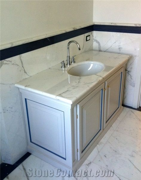 Statuario Carrara Marble Bathroom Vanity Top White