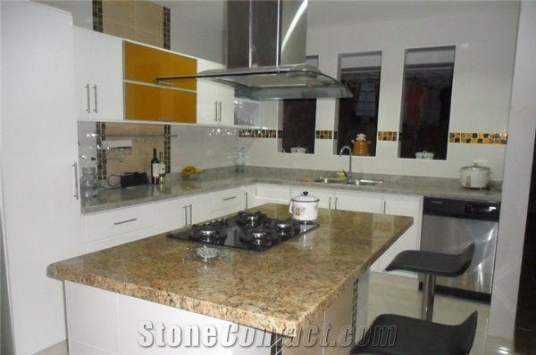 Granito Amarillo Santa Cecilia Kitchen Countertop, Giallo Santa ...