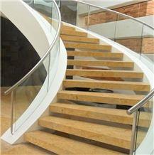 Sinu Dorado Veta Limestone Stairs, Sinu Dorado Veta Yellow Limestone Stairs
