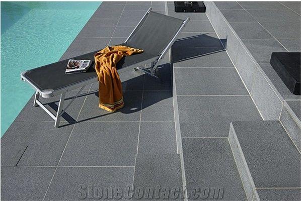 Padang Dark G654 Granite Pool Deck Pavers From Austria