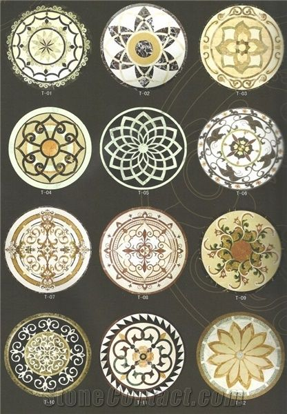 Waterjet Marble Inlaid Design Floor Medallions From Qatar