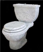 Carrara White Marble Toilet