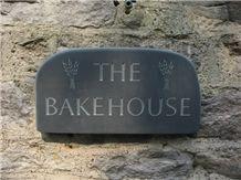 Bake House Sign Cut in Black Slate, Llechwedd Black Slate Sign