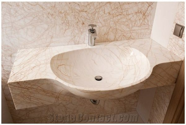 Golden Spider Marble Solid Vanity Top With Sink Yellow