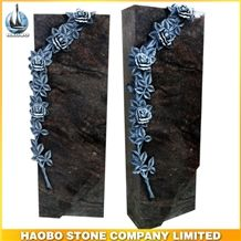 China Factory Direct India Himalaya Blue, Aurora Granite Germany Style Rose Hand Carving Memorials Headstone in Wholesale