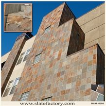 Cheap Price Peacock Rustic Slate Stone Facade Tiles, Factory Supply Rustic Multicolor Slate Wall Stone Siding Tiles, Slate Tiles Stone Wall Cladding