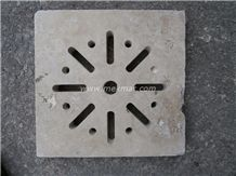Grille Siphon Antique Travertine Water Drainage, Beige Travertine Water Drainage