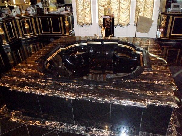 Baum Bath Black And Gold Nero Portoro Marble Bath Tub Deck