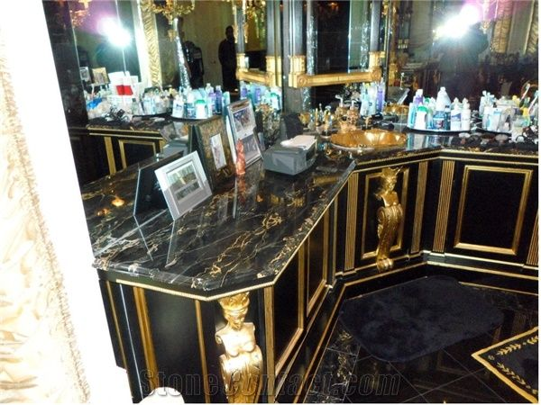 Baum Bath Vanity Top With Black And Gold Marble Nero