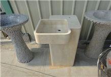 Cream Marble Pedestal Bathroom Sink Design