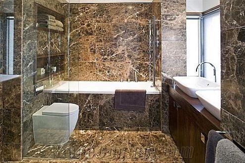 Emperador Dark Used In Bathroom Brown Marble Bath Design