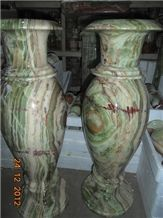 Onyx Vases, Multicolor Green Onyx Artifacts, Handcrafts