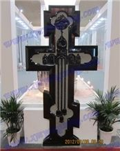 Shanxi Black Granite Celtic Cross Headstone Tombstone for Gardens