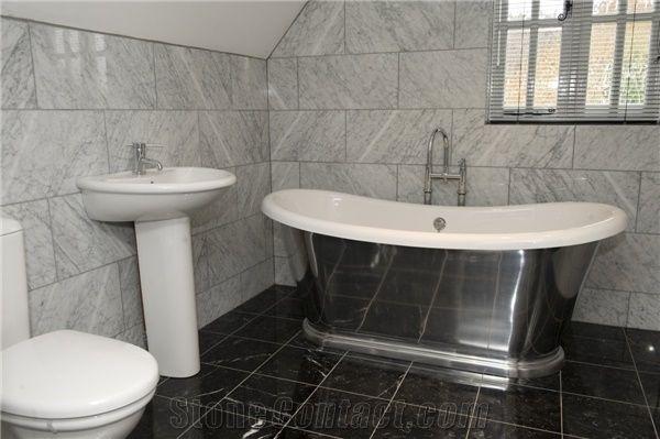 Bianco Carrara And Nero Marquina Bath Design Bianco