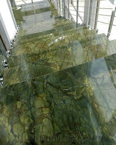Rainforest Green Marble Stairs From Czech Republic