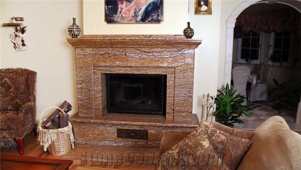 Walnut Vein Cut Travertine Fireplace Walnut Iran Brown