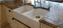 Worktops in Natural Marble, Marron Emperador Brown Marble Kitchen Countertops