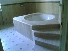 Beige Travertine Bath Tub Deck and Surround, Travertino Romano Dorato Beige Travertine