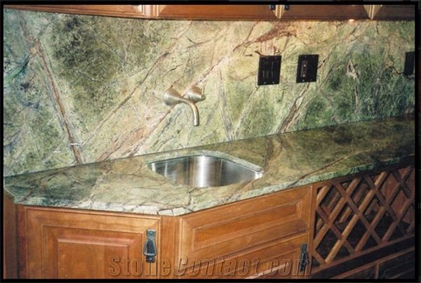 Rainforest Green Marble Kitchen Countertop