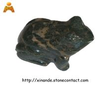 Natural Stone Frog, Green Jadeite Granite