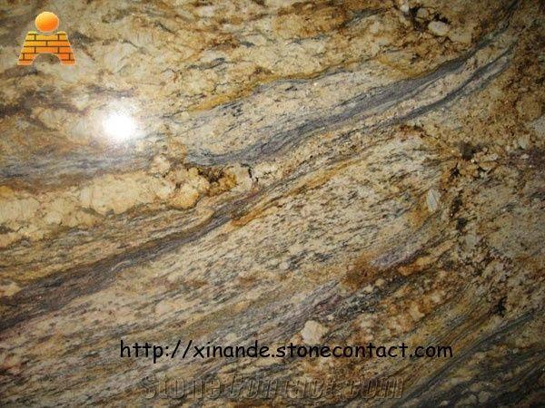 Yellow River Granite Slabs Tiles Brazil Yellow Granite