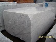 White Carrara Marble, Bianco Gioia White Marble Block