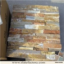 Gold Beige Quartzite Cultured Stone, Beige Quartzite Wall Cladding, Stacked Stone Veneer, Natural Stone Veneer, Golden Yellow Quartzite Ledgerstone