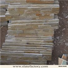 Golden Beige Quartzite More Yellow Less Grey Rectangle Nature Cultured Stone Wall Veneer,Ledger Stone Veneer,Stacked Stone Veneer for Wall Cladding, Veneer Corner
