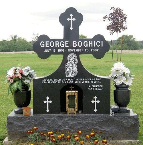 Absolute Black Granite Byzantine Cross Tombstones From