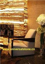 Black Sea Onyx Fireplace Wall Panel