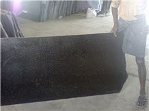 Black Galaxy Granite Slab, India Black Granite