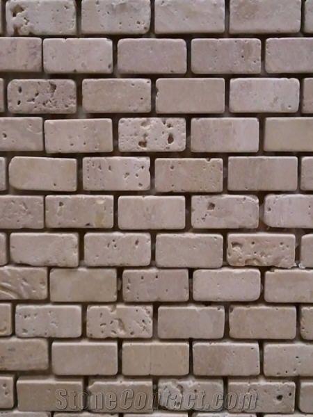 Light Tumbled Travertine Brick Mosaic Beige Travertine