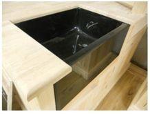 Black Granite Belfast Sink, Nero Assoluto India Black Granite