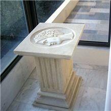 Goddess Hera Table with Glass Top, Zakinthos Beige Limestone Tabletops