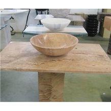Brown Travertine Bathroom Stone Wash Basin