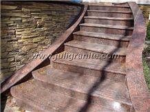 Granite Steps Outside, G562 Red Granite Steps