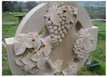 Vine on Yorkstone Churchyard Memorial, York Stone Beige Sandstone Monument, Tombstone