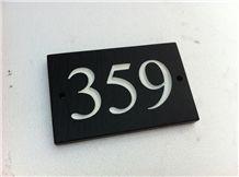 Black Riven Slate House Sign (Welsh Black Slate), Llechwedd Black Slate Sign