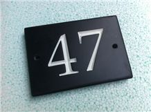 Honed Brazilian Black Slate House Sign, Diamond Black Slate Sign