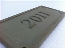Relief Engraved Honed Sandstone Signs, Witton Fell Beige Sandstone Signs
