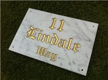 White Marble House Sign, Bianco Carrara White Marble Sign