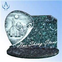 Monument Tombstones Slant Grave Marker Plaque, Pearl Blue Granite