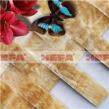 Honey Onyx 3D Stone Mosaic, Honey Yellow Onyx Mosaic