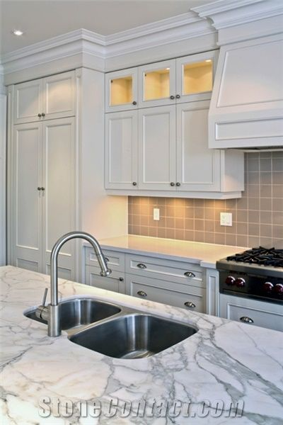 Arabescato Vagli White Marble Kitchen Countertops From