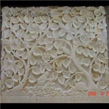 Paras Gold Yogya Beige Limestone Wall Sunken Relief
