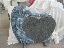 Hand Carved G654 Pardong Dark Granite Angel Monuments Headstone