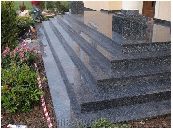 Blue Pearl Stairs Pearl Blue Granite Stairs From Poland Stonecontact Com