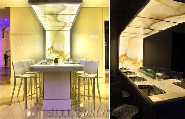 Backlit Onyx Feature Dining Table Yellow Onyx Tables From