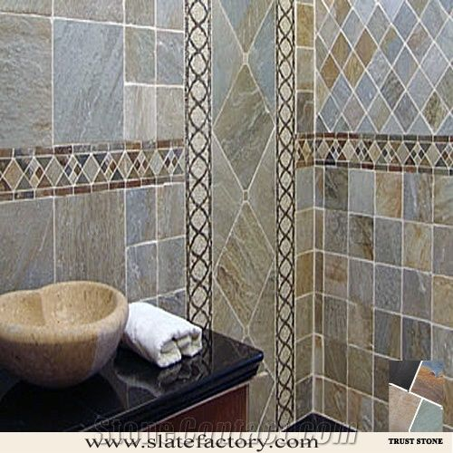 Oyster Slate Bathroom Wall And Bath Design From China